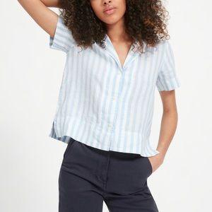 Everlane Linen Notch Short-Sleeve Shirt Sz 8